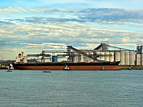 Photo of a transoceanic ship at the EGT Grain Terminal in Longview, Washington