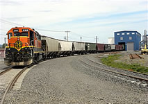 A photo of a grain transport train.